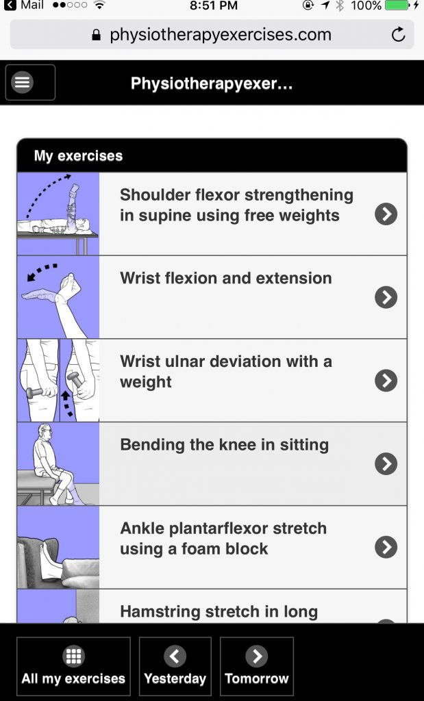 Mobile Screenshot-with Selected Exercise Sketches
